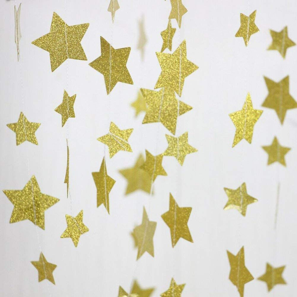 6MILES 2 Pack Champagne Gold Hanging Twinkle Star Sparkling Paper Glitter Garland Bunting Backdrop for Party Wedding Decoration Supplies (Gold(Twinkle Star), 12 feet)