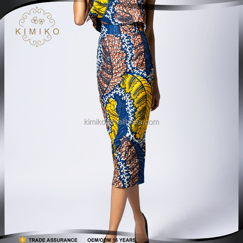 2016 S/S African Pencil Wax Print Skirt, High Waist Skirt, Print Skirt With Cotton
