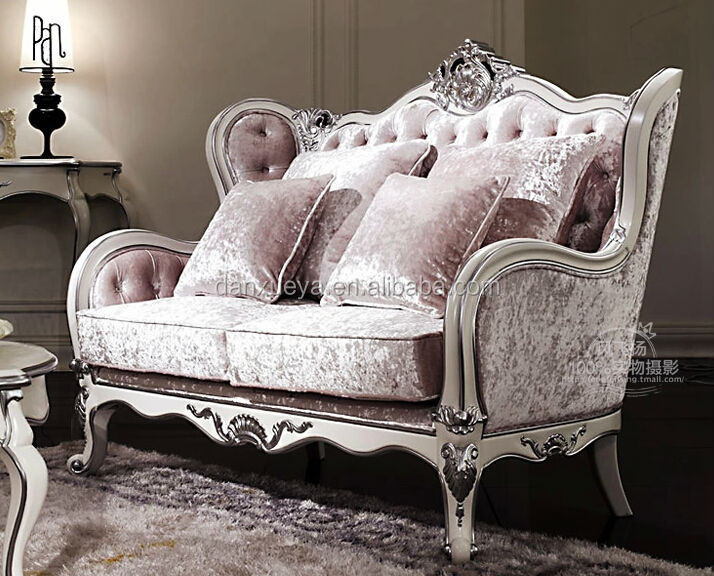 Attirant White Silver Wooden Carved Pink Velvet Sofa Set