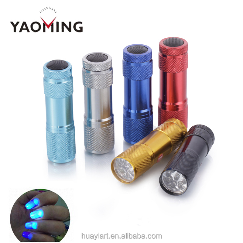 YAOMING Aluminum Alloy kids Mini 395nm Violet Light Blacklight UV LED promotional gift item product 9 LED Torch Flashlight