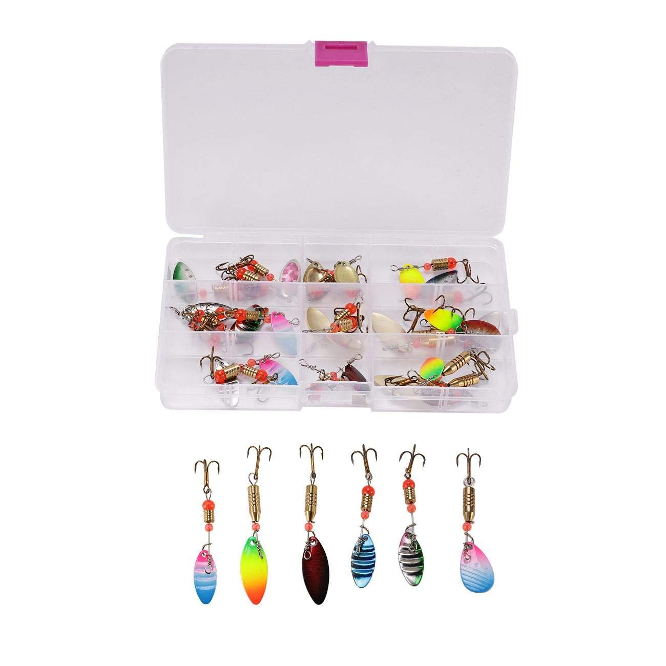Dyna-Living 30PCS Fishing Tackle Box, Spinner Baits, Trout Lures