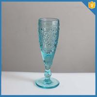 Glassware manufacturer color embossed glass champagne flute