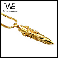Fashion Jewelry Mens Gold Bullet Pendant Necklace with Scorpion