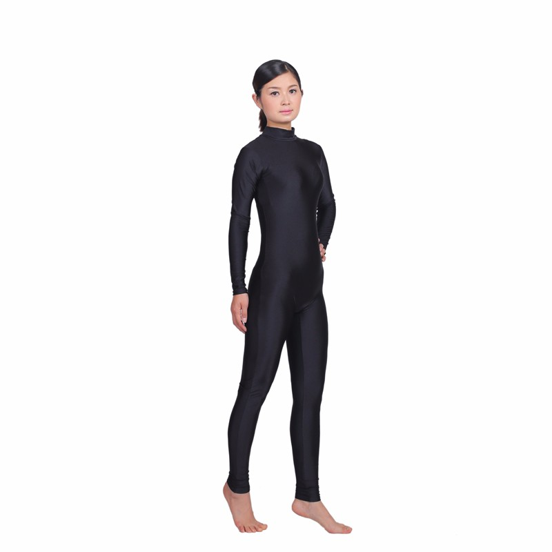 0452594ecbde Women Long Sleeve High Neck Unitard Zipper Back Bodysuit Lycra ...