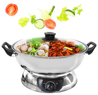High Quality Glass Lid Stainless Steel Electric Hot Pot