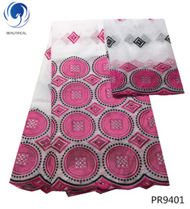 Beautifical fushia pink rhinestones woman cotton fabric embroidered african lace swiss cotton voile fabric PR94