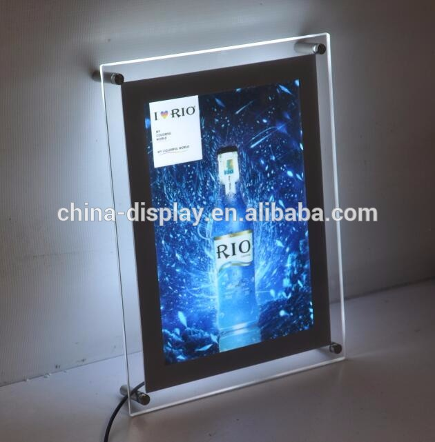 Edgelight electrical magnetic type transpartent crystal led photo frame