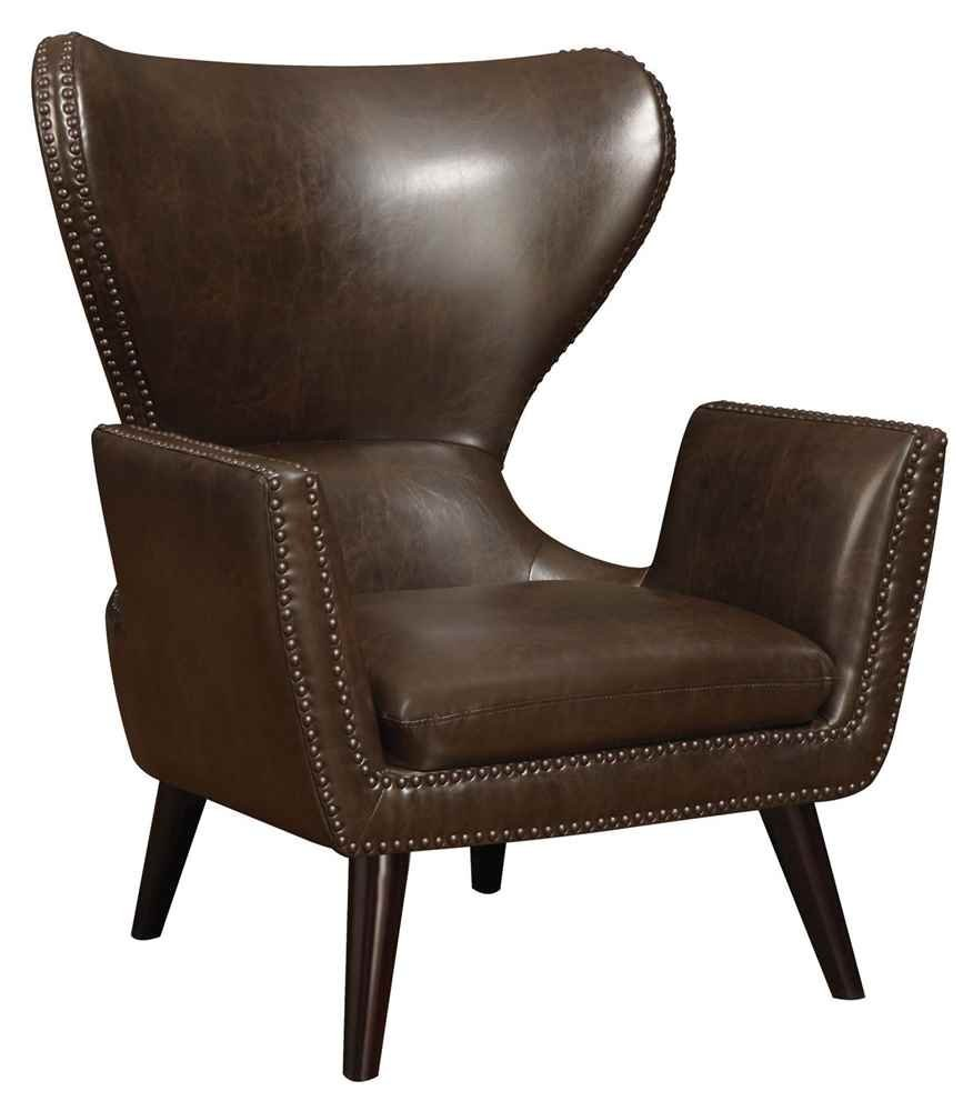 Coaster Transitional Dark Brown Faux Leather Accent Chair