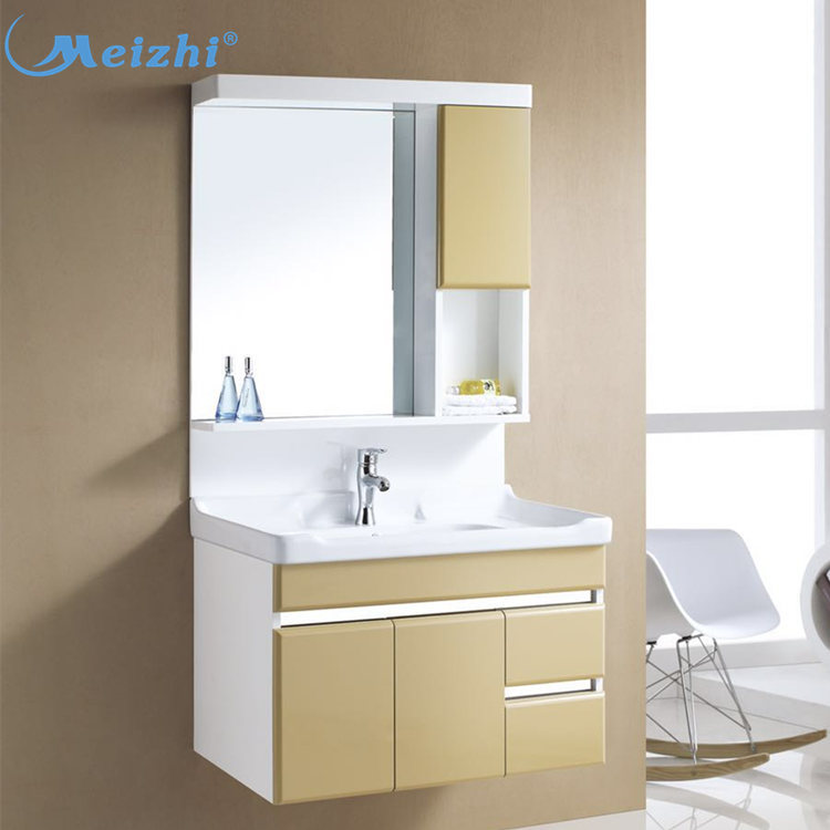 Wall hung bathroom laundry cabinet with quartz wash basin
