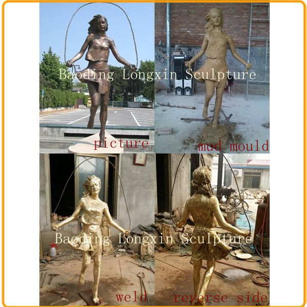 Large Dancing Metal Bronze Fat Lady Art Sculpture Statue