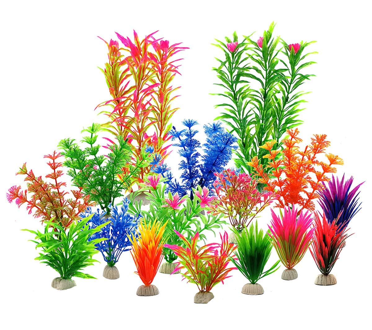 Zivisk Fish Tank Plants Aquarium Decorations Aquarium Home Decor Artificial Aquatic Plants - Plastic Vivid Simulation Plant Creature Aquarium Landscape Assorted Color