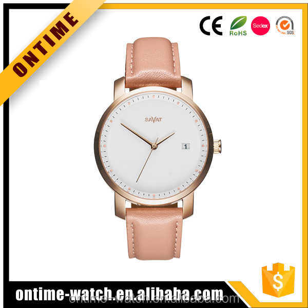 Custom logo oem leather band stainless steel lady quartz watches with date