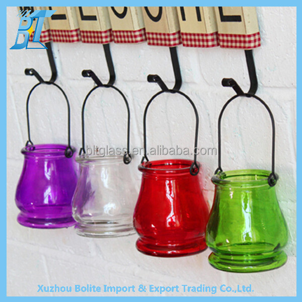 Colored hanging glass plant pot hydroponic flower vase cultivation bottle