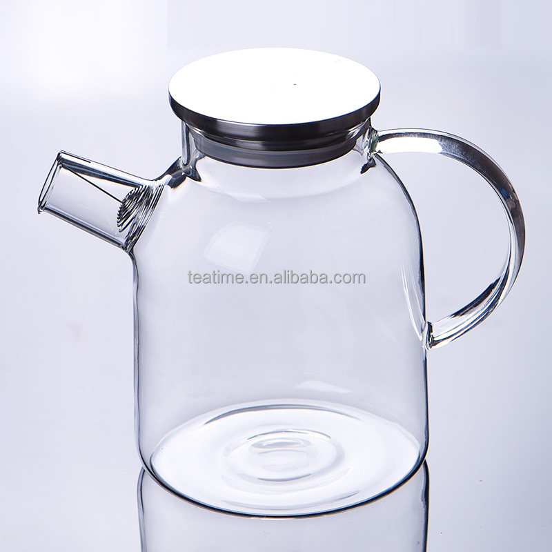 Hot sale heat resistant borosilicate glass tea pot cold water jug with handle and stainless steel lid