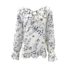 Item FB0283 Latest Lady elegant wear Butterfly sleeves printed blouse 3/4 sleeves women blouses and shirts chiffon white