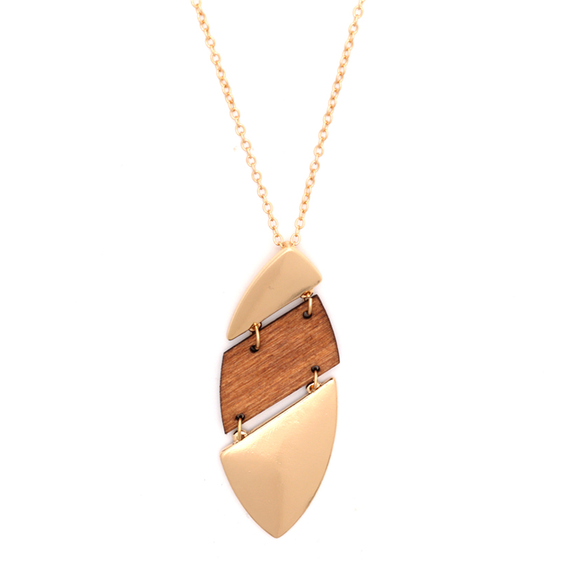 Gold Long Chain Natural Wood Geometric Leaf Pendant Necklace
