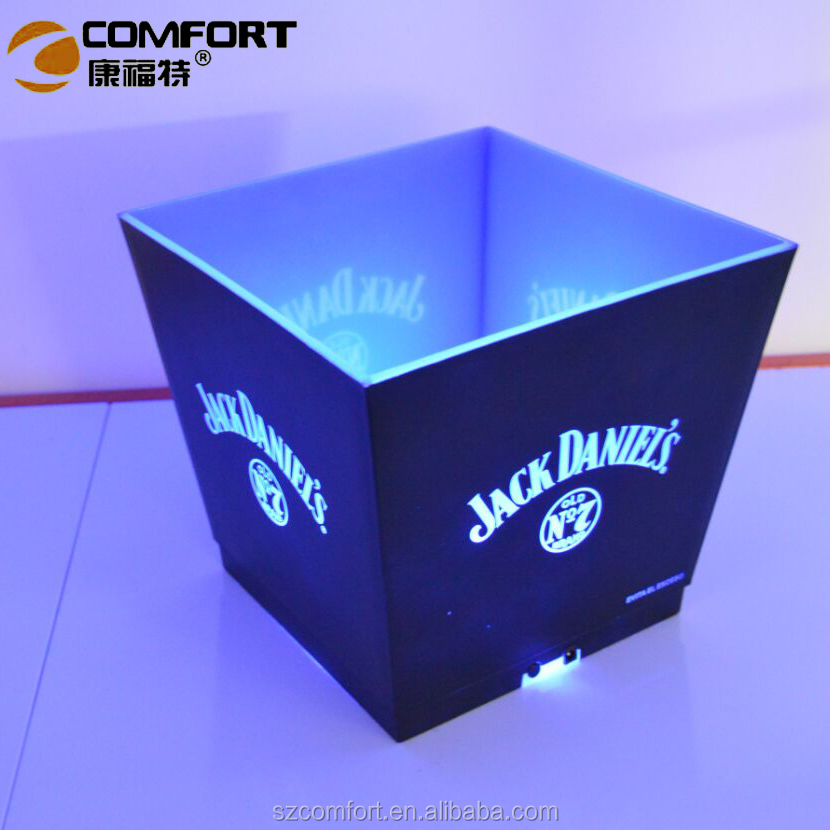 factory wholesale price LED lighted up illuminated plastic ice bucket for wine promotional item