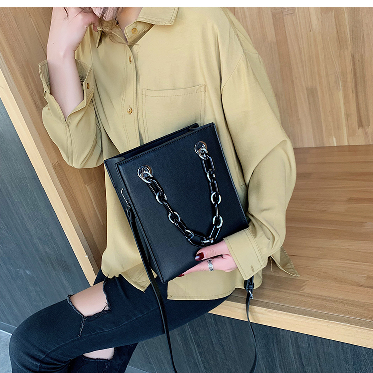 RKY0603 Simple single shoulder big female 2019 new fashion lady Korean version chain cross-body large capacity texture tote bag-8