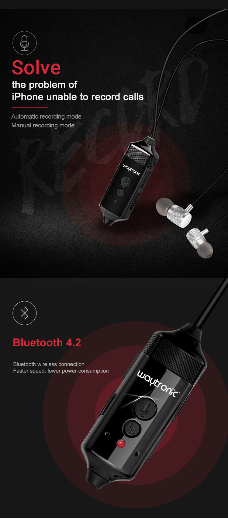 Wireless Blue tooth In-ear Call Recorder Headset with Cellular Skype Call Recording Function for iPhone Android Phone