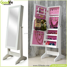Pink color standinging jewelry armoire with mirror for girl as gift