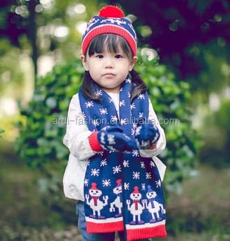 Cozy Design Snowman Jacquard Christmas Knitting Children Hat Scarf