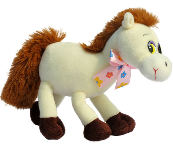 plush white horse with tie Stuffed toys soft farm animal polyester fiber filling