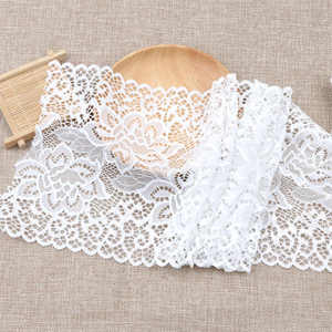 stock lot nylon elastic long sleeve lace trim fabric for wedding dresses/decoration
