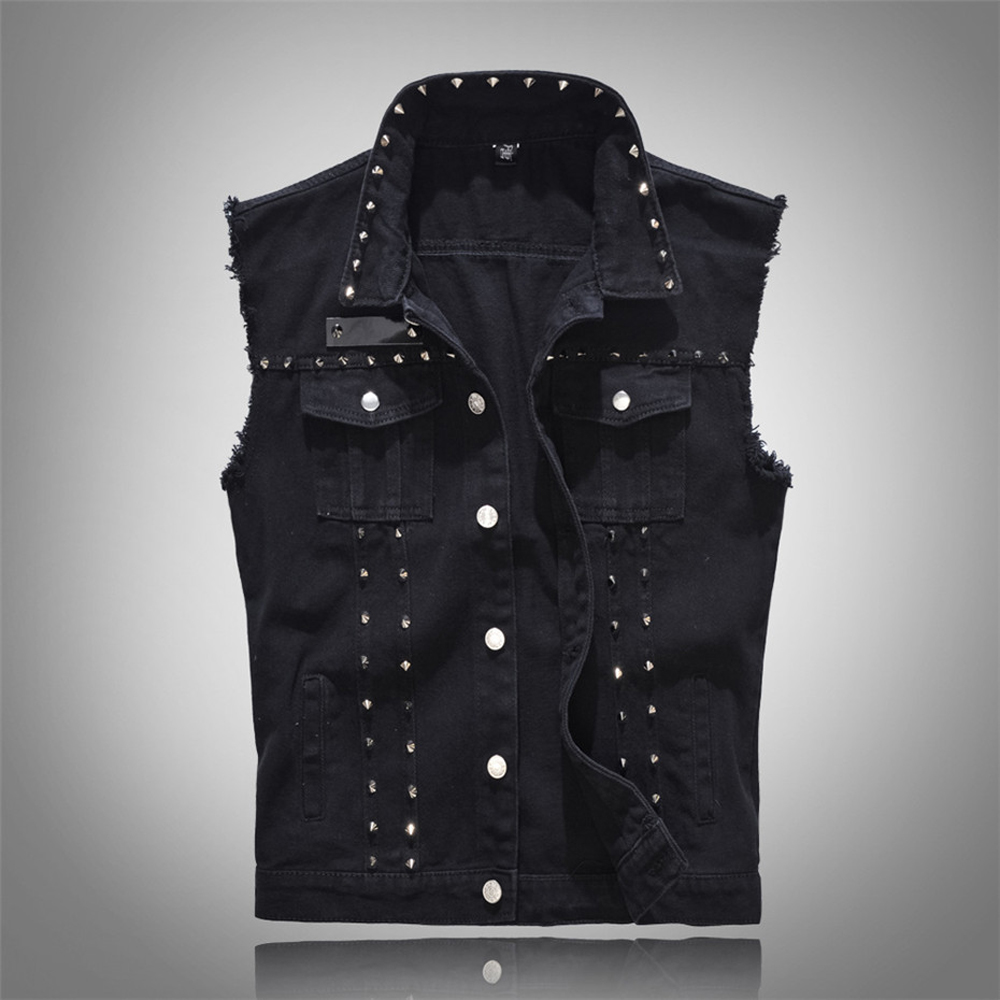 Plus Size Heren Denim Vest Zwart Klinknagels Mouwloze Jassen Heren Slim fit Jeans Vest