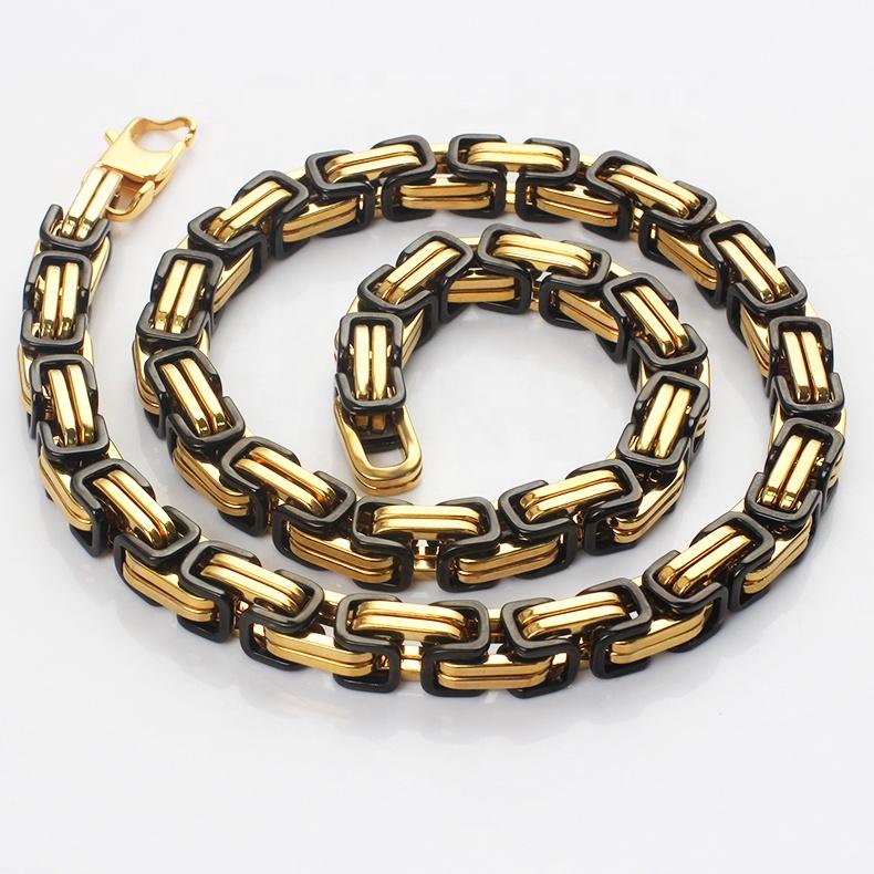 Atacado fabricantes de dubai aço inoxidável 18 k ouro e preto banhado a colar pulseira cadeias de bizantino conjunto de jóias para mens