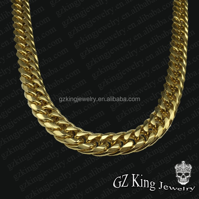 mens men luxurman s chains gold cuban solid necklace link chain miami mainye
