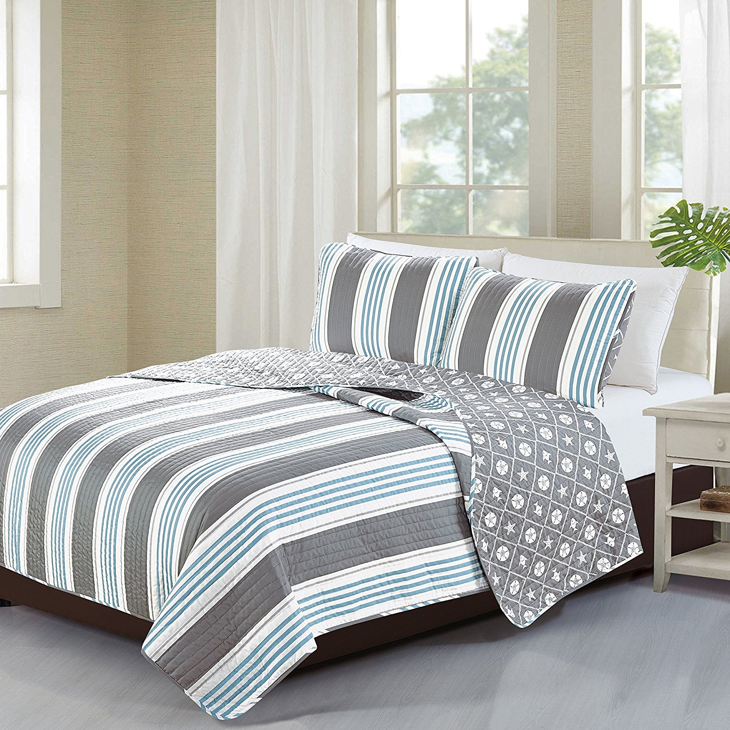 2 Piece Trendy Blue Teal Grey White Twin Quilt Set, Beach Striped Themed Reversible Bedding Bright Seaside Starfish Sand Dollar Nature Classic Cottage Lake House Stylish Coastal Nautical, Cotton