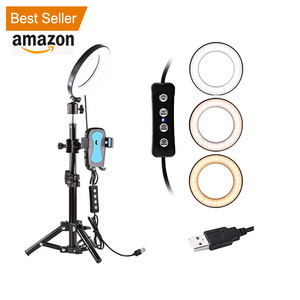 "Amazon Best Sellers 6"" Selfie Mini Ring Light With Tripod Stand & Cell Phone Holder For Youtube Video And Live Stream/Makeup"