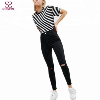 b20958bb73d Hot Selling Ripped Knee Hole High Rise Skinny Black Jeans - Buy ...