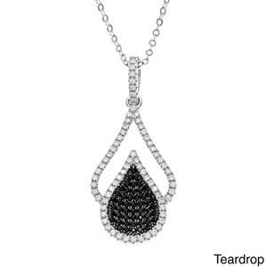 2017 unique silver jewelry black and white Cubic Zircon water drop necklace