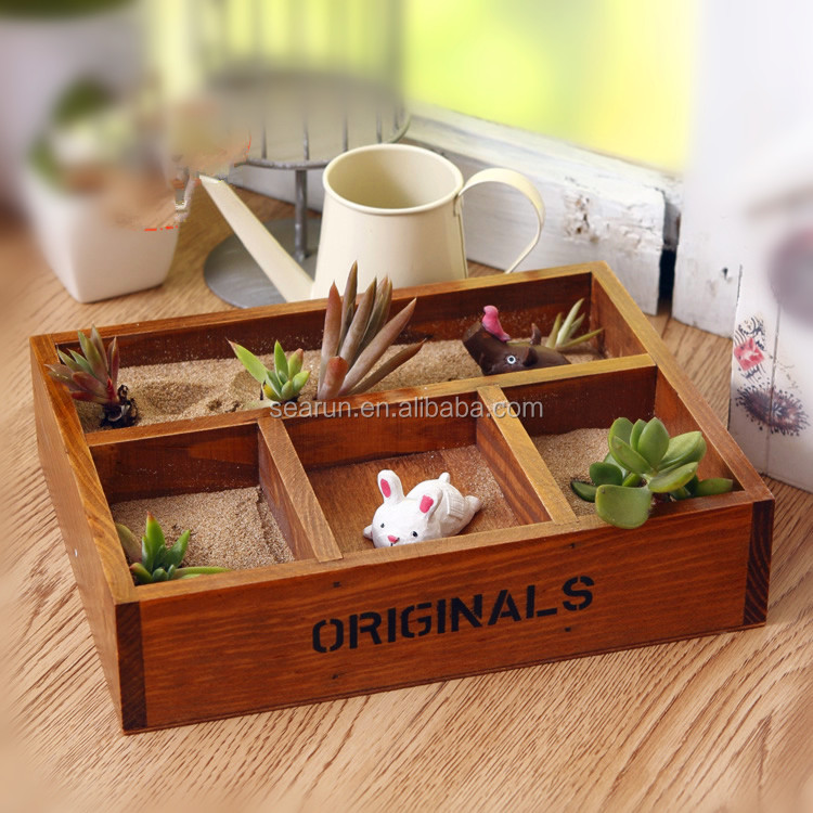 Creative retro desktop four lattice box office succulents sundry small wooden case