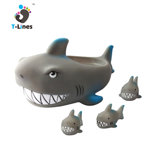 Baby floating bath rubber shark toy with whistle