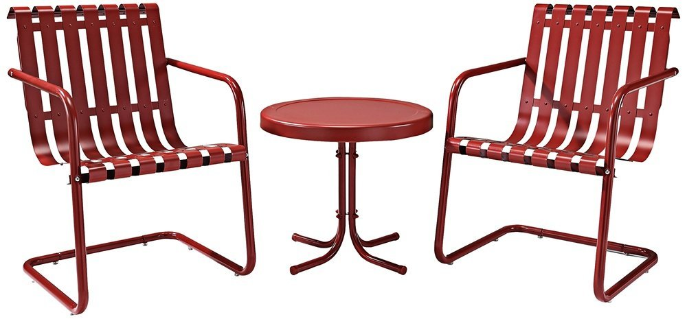 Crosley Furniture Gracie 3-Piece Retro Metal Outdoor Conversation Set with Side Table and 2 Chairs - Coral Red