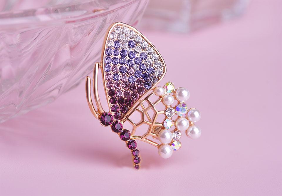 Linda al por mayor mariposa perlas cristal completo oro corsage ...