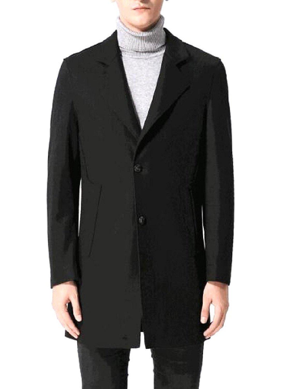Abetteric Men's Wool Blend Fall Winter Mid-Long Formal Windproof Coat