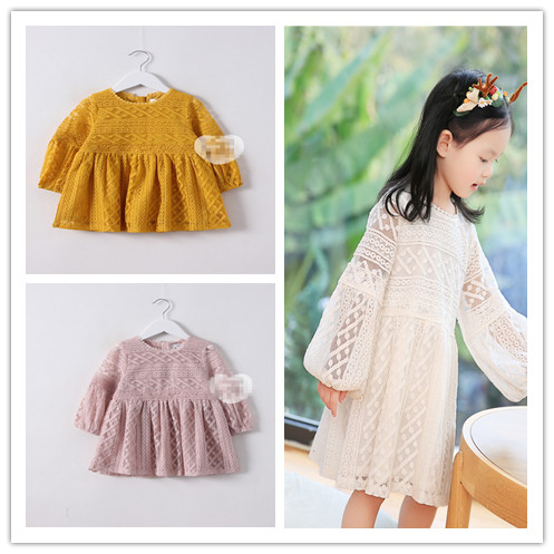 2017 Wholesale spring hot new girls cotton long-sleeved lace pink white yellow dress