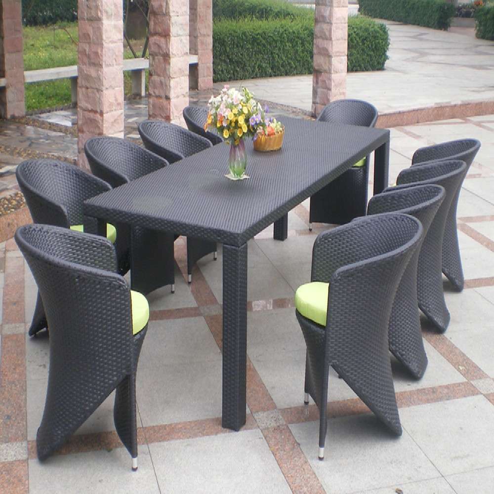 Georgia restaurant 10 seater french outdoor home furniture wicker dining tables and chairs garden plastic rattan furniture