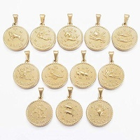 MECYLIFE Fashion Zodiac Coin Medallion Pendant Necklace Gold Astrology Jewelry Coin Pendant