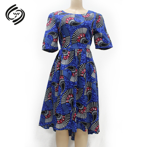 Wholesale African Traditional Clothing Attire Dresses Short Blue African Dashiki Print Dress Short Sleeve High Low Dress