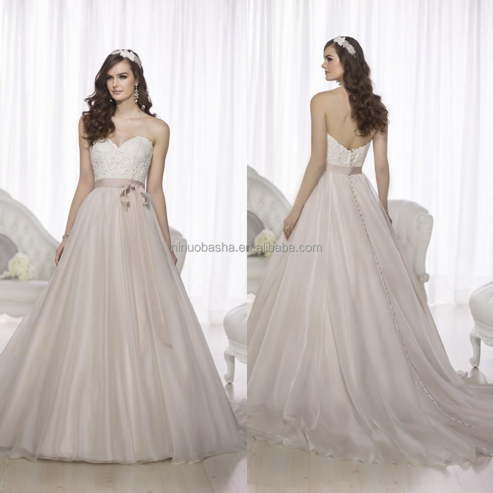 Simple 2015 vestido de boda vestido de novia larga cola de encaje ...