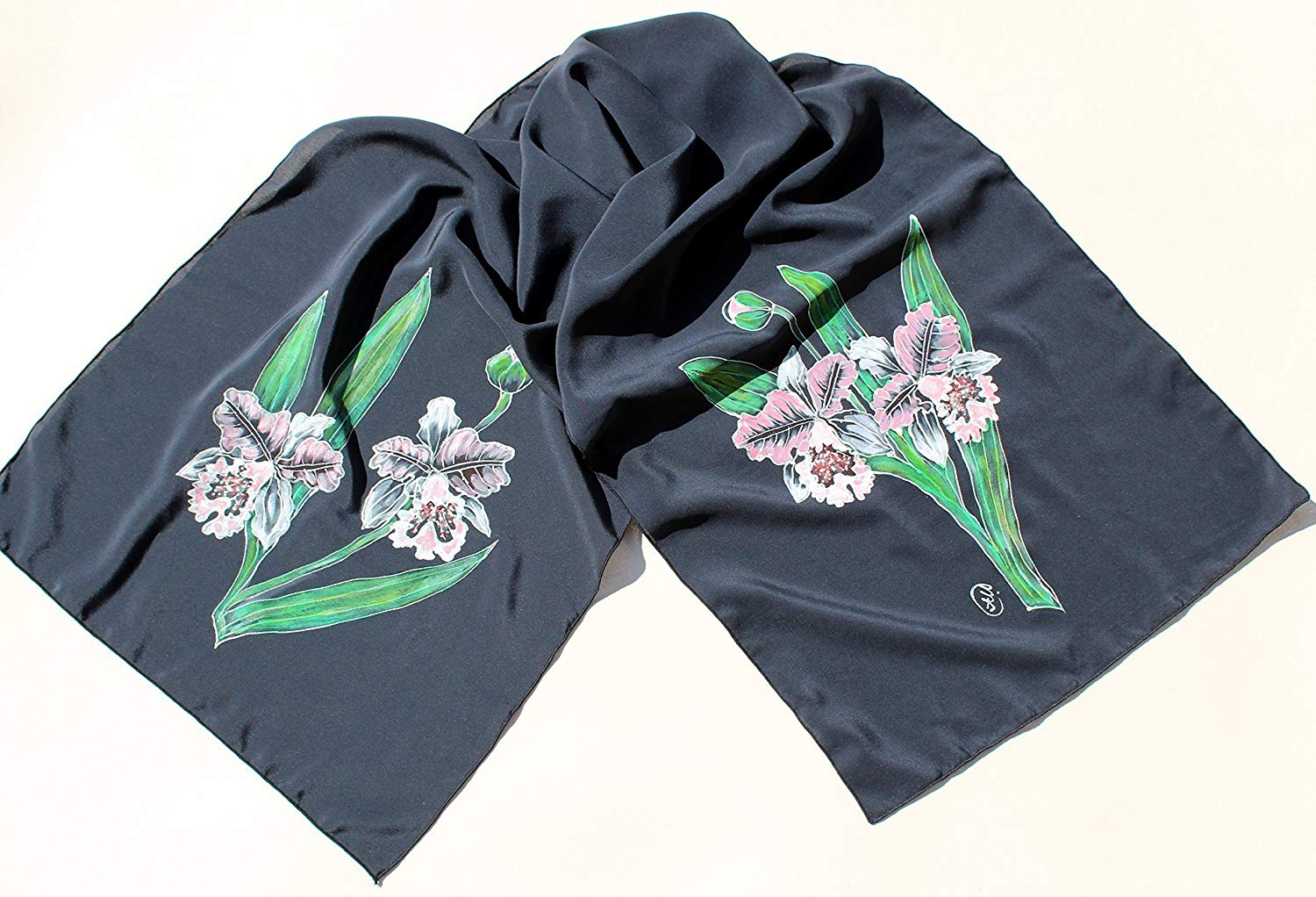 1ca9af2ab Get Quotations · Hand Painted Silk Scarf/Scarf gift for wife/Orchids Long  Floral Scarf/Floral