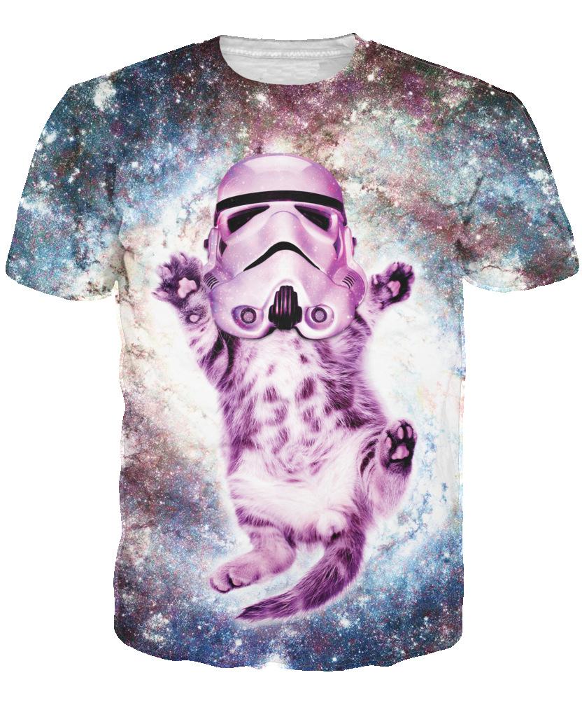Кошка кавалерист галактическая империя футболка сексуальная ти блестящие штурмовик шлем фиолетовый котенок пространство галактика летом майка для женщин мужчин