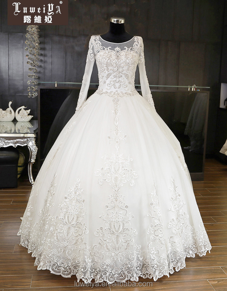 Cina Pemasok Ball Gown Long Sleeve Lace Appliqued Wedding Dresses