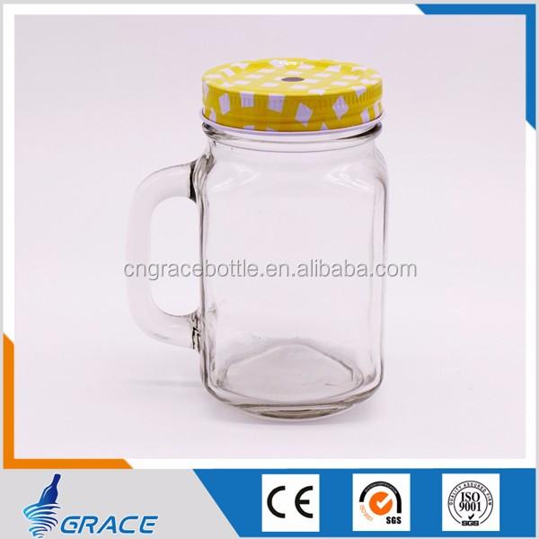 vazio vidro frasco de pedreiro beber frio jarra de vidro com alça e