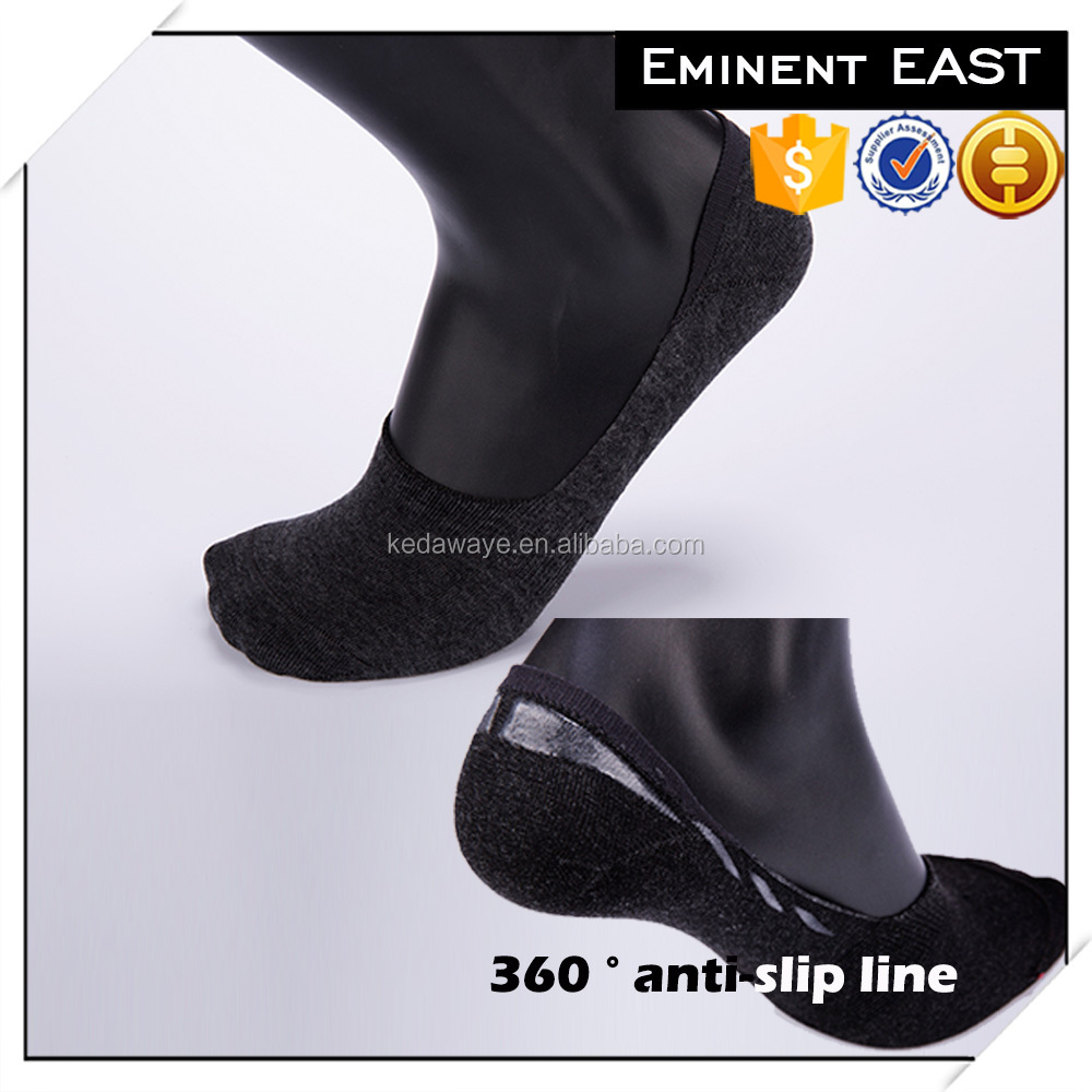 360 degree anti-slip anti-bacterial solid color men cotton no show socks