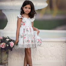2019 wholesale quality summer girls party dress sleeveless 100% cotton floral baby dress